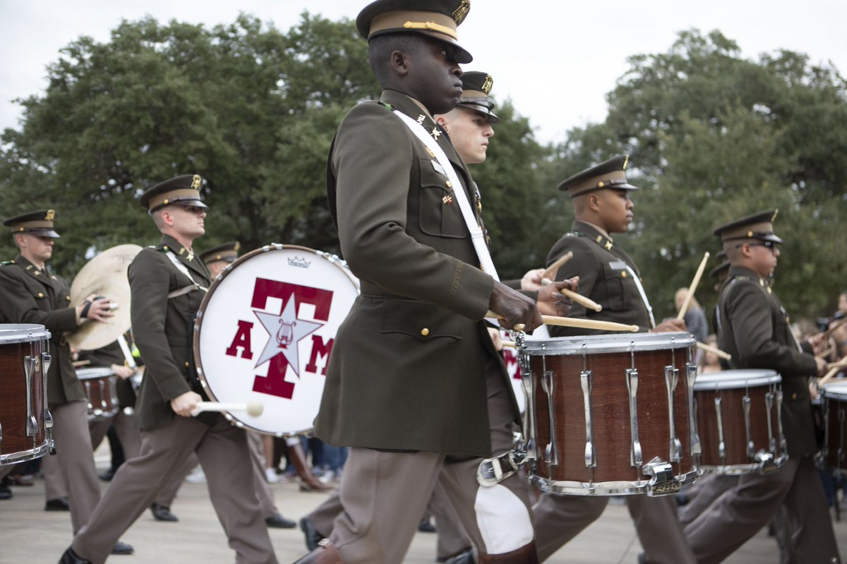 The Aggie Band marching into the stadium