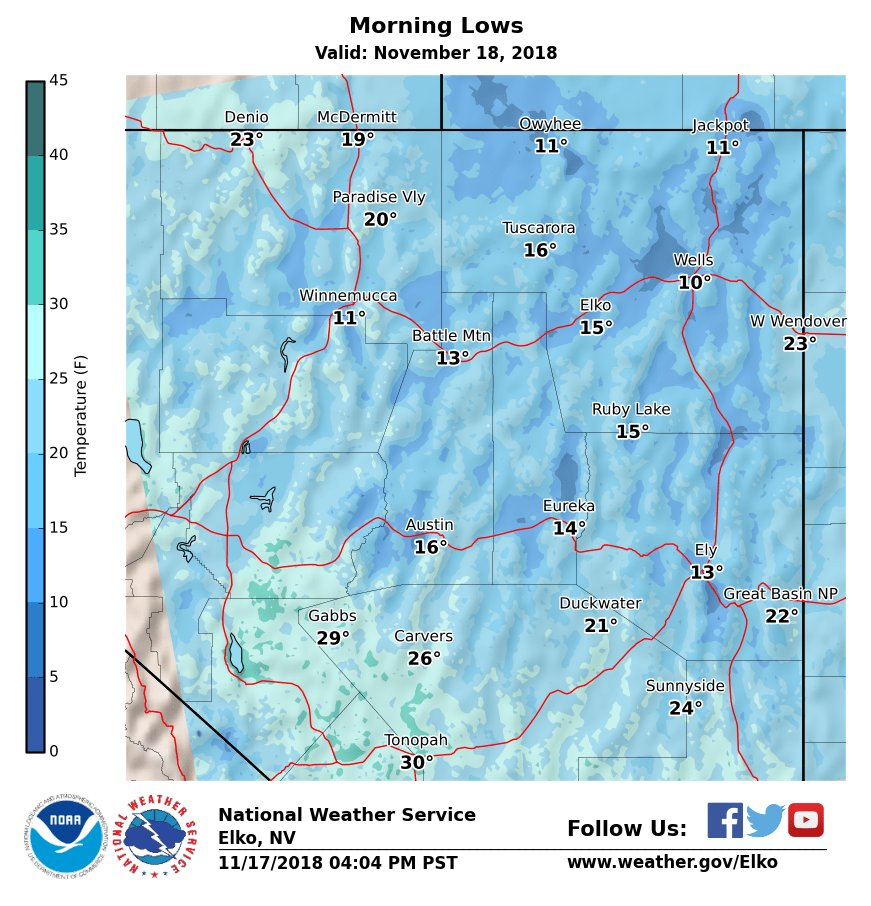 A view of Sunday morning low temps.  #nvwx