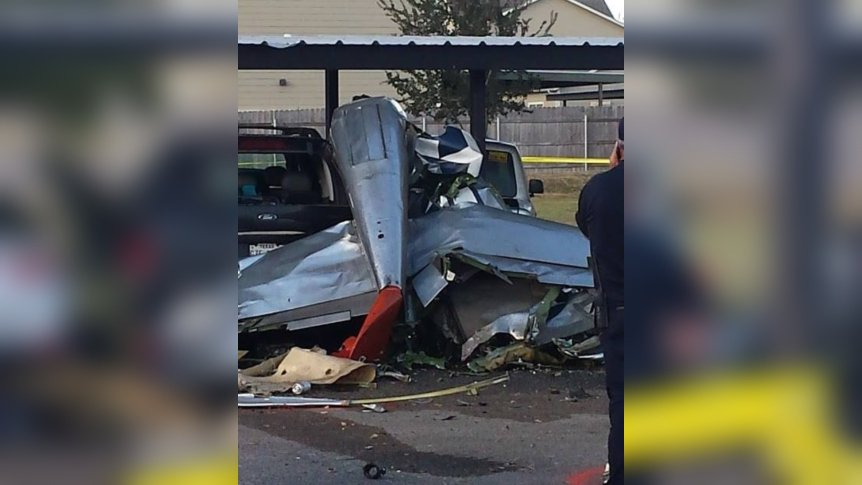 PHOTOS: A plane is completely destroyed after crashing in the parking lot of a Fredericksburg apartment complex. Courtesy: Glenn Kropat https://t.co/3xzcs1hGGv