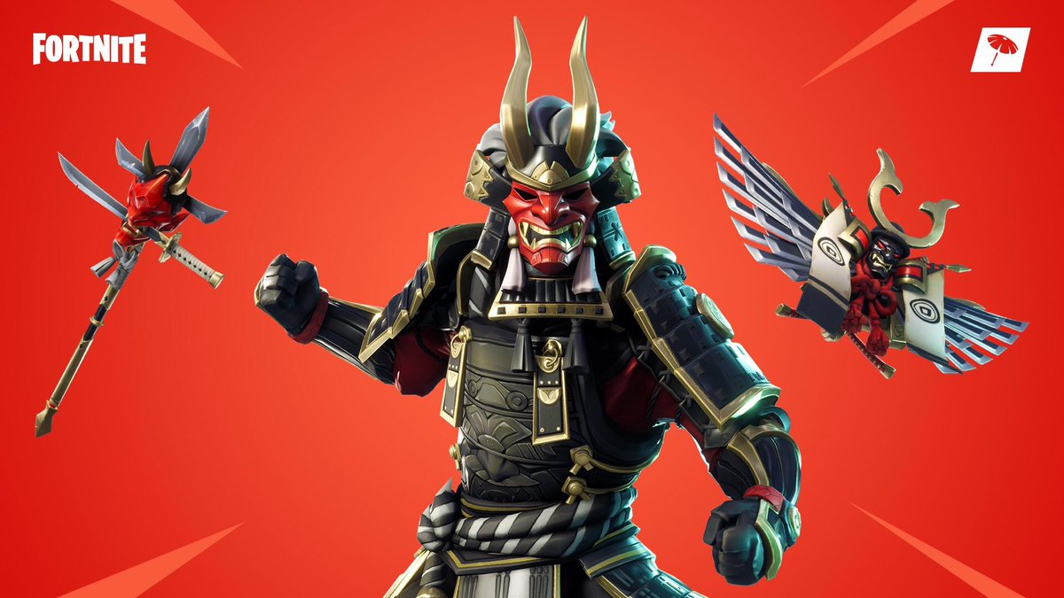 Fortnite Skin Gold Mask The Fortnite Skins Reviewer Pa Twitter Shogun Legendary 2000vb White Hair And Gold Horns Red Mask And Gold Grillz Black Armour With Embossed Design And Gold Trim Back Pack Made