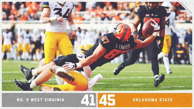 What a game! Oklahoma State upsets No. 9 West Virginia in Stillwater 😲 Photo