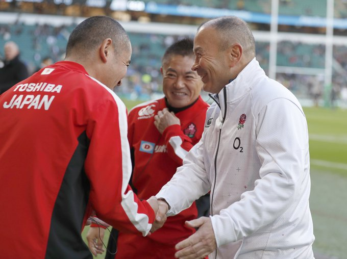 """Eddie Jones said his team """"played like England"""" in the second half after they came from behind to beat Japan 35-15 at Twickenham. Next up are the Wallabies in London: Photo"""