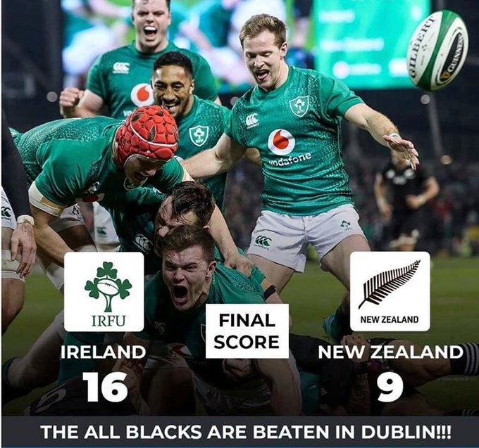 Ireland have beaten the New Zealand All Blacks on home soil for the first time with a thrilling 16-9 win in Dublin. Photo