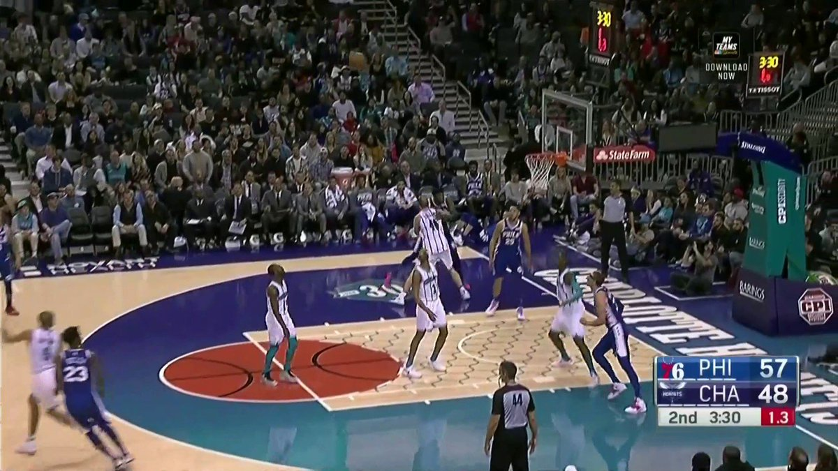 THROW IT DOWN, BEN. Simmons slams a missed triple from Butler back into the rim WITH AUTHORITY.
