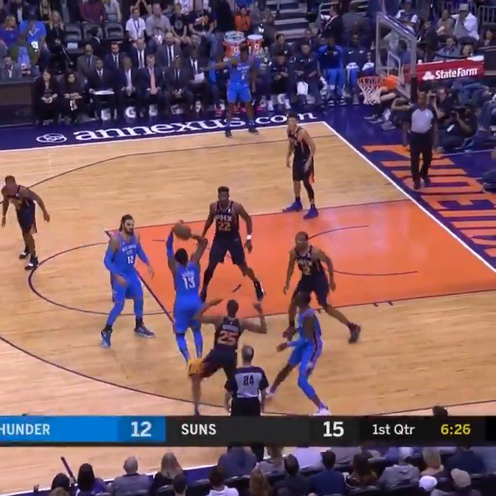 Paul George tallies 32 PTS (third consecutive 30+ point game) to fuel the @okcthunder win on the road! #ThunderUp https://t.co/BYHyJtNzcy