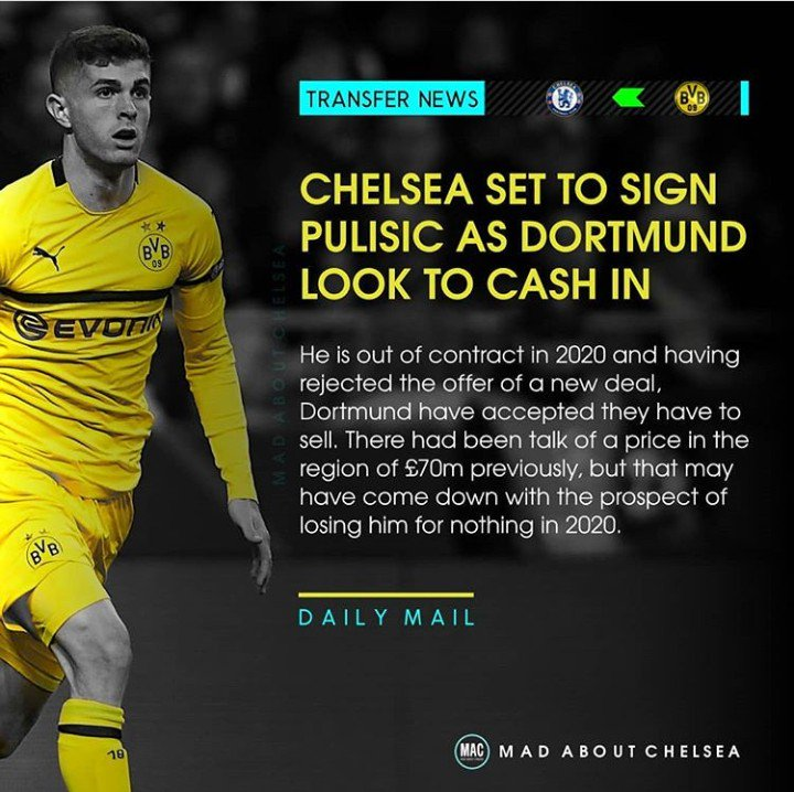 Christian Pulisic is a chelsea target in the January transfer window. He is an upgrade to Kovasic, Ross Barkley and Loftus Cheek in the midfield position. #Chelsea