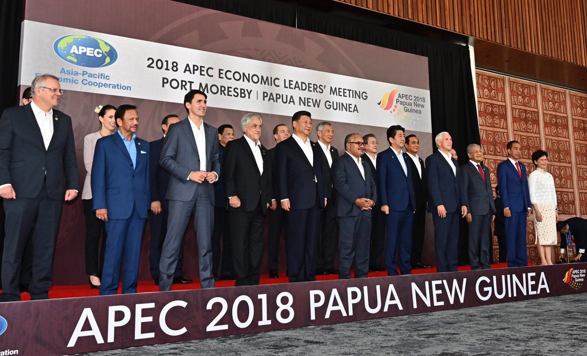 Meeting with leaders of the Indo-Pacific at APEC Summit in Papua New Guinea. The United States' commitment to the Indo-Pacific has never been stronger – and while we will always advance our interests, we will also respect your own. #APEC2018