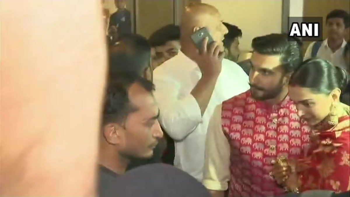 Deepika Padukone and Ranveer Singh arrive in Mumbai after getting married in Italy's Lombardy earlier this week