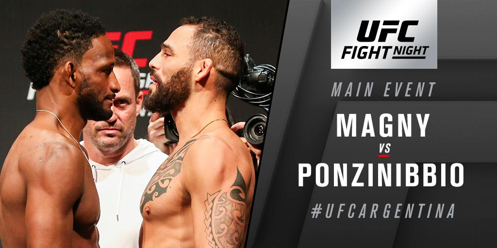 WW war at #UFCArgentina! @NeilMagny faces @SPonzinibbioMMA on @TSN_Sports 5 & @RDSca 2