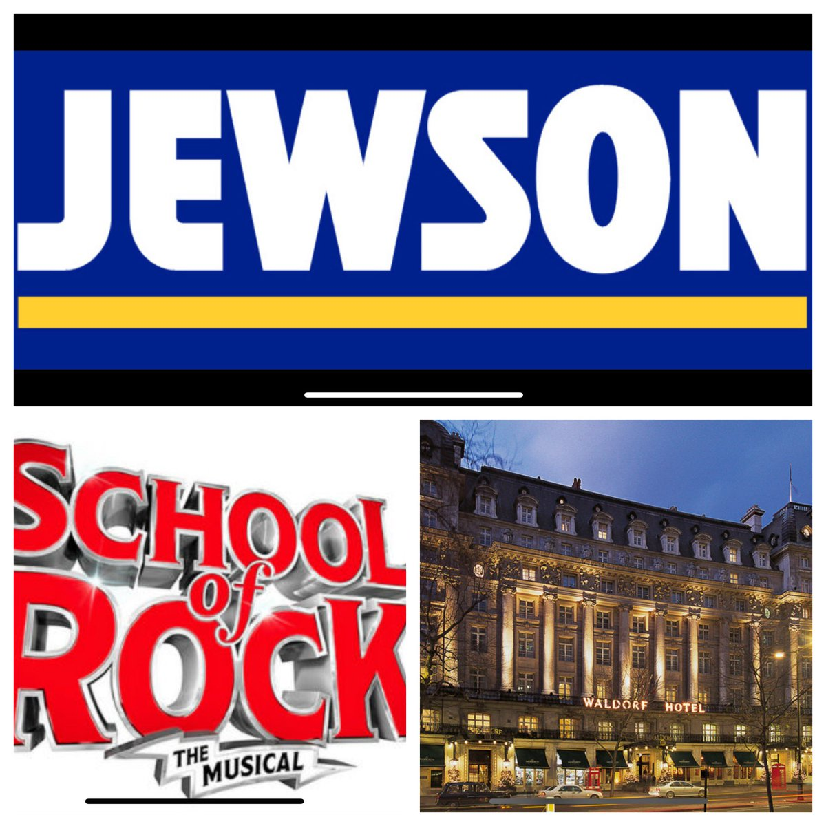 "Delighted to be hosting another ""London Theatre Break"" for @Jewson again, this coming weekend. Staying at @WaldorfHilton_, watching @SchoolOfRockUK & dining at @ChristophersWC2 ! These very popular weekends, are my 'Blue Ribbon' events."