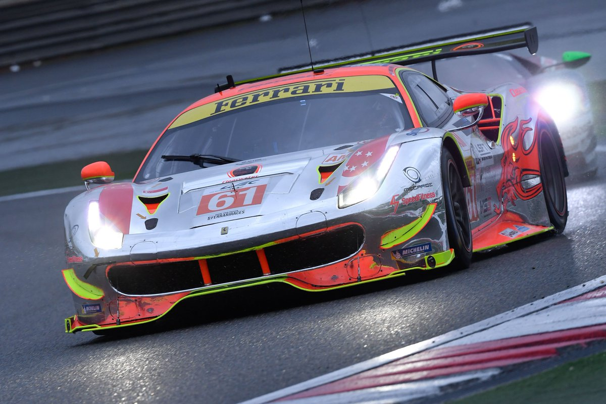.@FIAWEC #6hShanghai 4H, GTE-Pro #51 @AFCorse #Ferrari is P5 with @CaladoJames; #71 P8 with @rigondavide GTE-Am: #61 @Clearwater_Race P1 with @MGriffinRacing; #70 @MRracing_real P3 with @EddieCheeverIII; #54 @spiritofrace P5 with #Flohr;