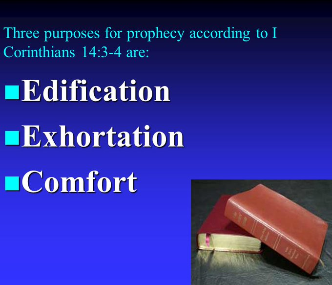 These are the purposes of prophecy according to 1st Corinthians 14 v 3-4 #GospelSunday Foto