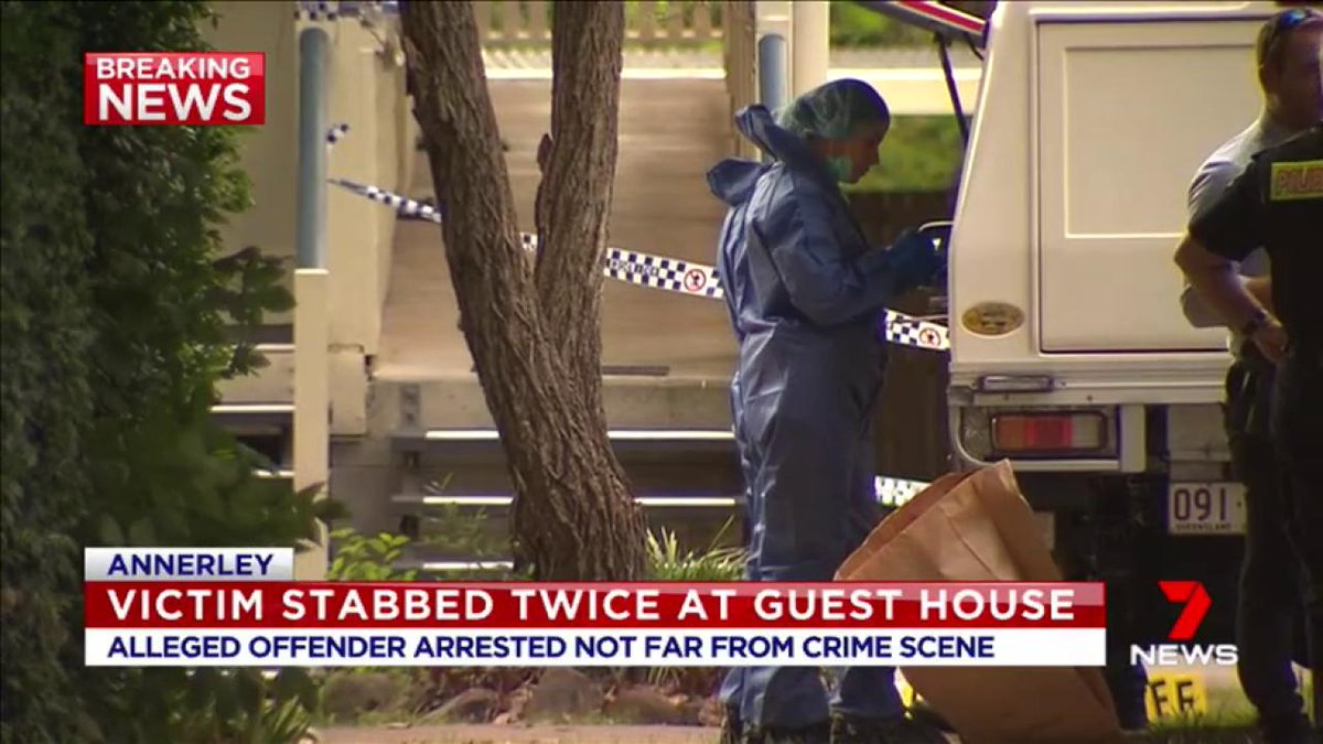 BREAKING: A man has been arrested after a stabbing at a guesthouse in Annerley. Polair and the dog squad helped search for the offender. The victim is in a critical condition in hospital. #7News