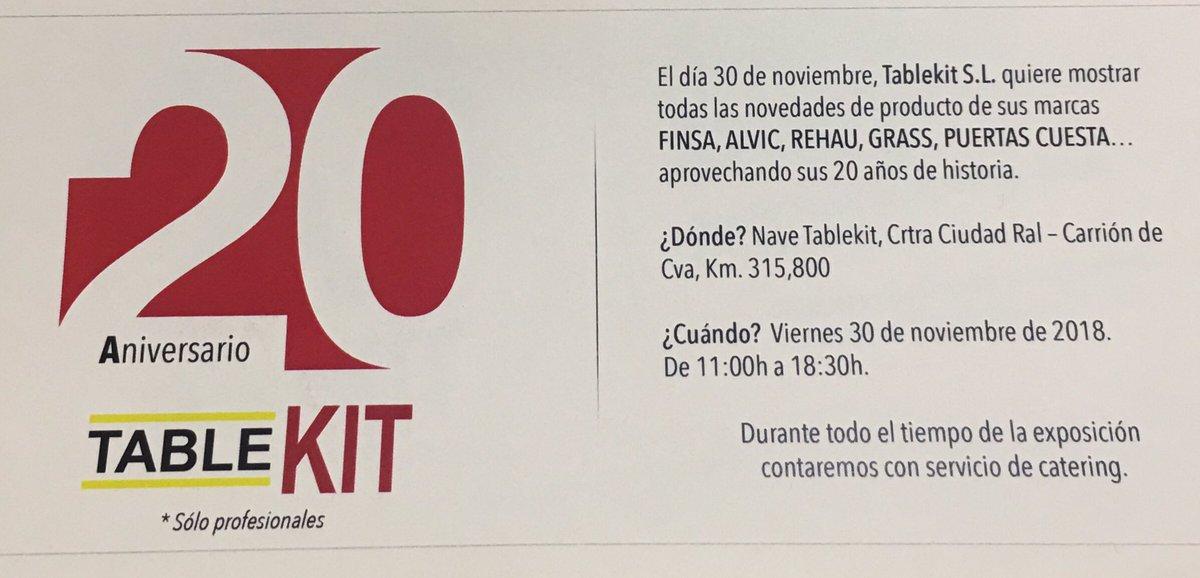 Evento Tablekit, viernes 30 Noviembre 2018. Para profesionales. Presentaremos junto con nuestras marcas, todas las novedades de producto @tablekit_es @finfloorfinsa @GrupoFinsa @Finsagroup @Grassiberia @REHAU_Furniture @REHAUproyectos @ALVIC_ESP #puertascuesta @DBGroupMMA