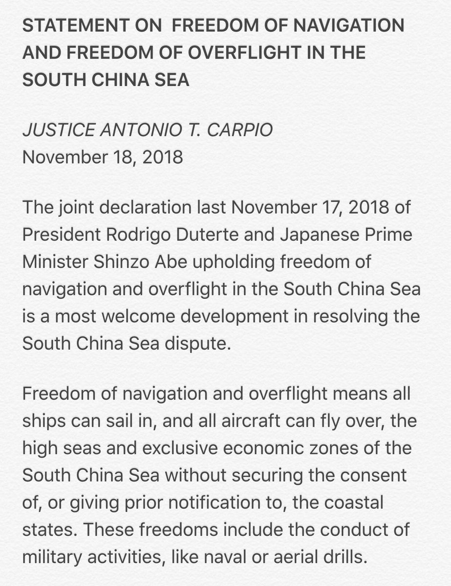 UPDATED: Acting Chief Justice Antonio Carpio welcomes President Duterte's joint declaration with Japanese PM Shinzo Abe upholding freedom of navigation and overflight in the South China Sea | vi @mikenavalloa  https://t.co/PIW4yycZyP