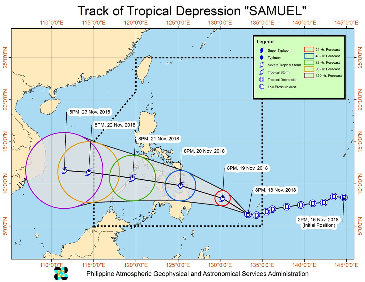 Tropical Depression '#SamuelPH' has  maintained its strength as it moves westward.