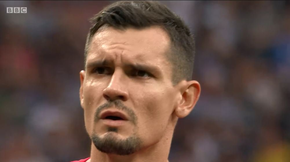 Life comes at you fast... Lovren on Thursday: I elbowed him (Sergio Ramos) good. Haha! 3-2! Go ahead and talk now buddy. They are a bunch of p******. Now to beat England and walk out like a boss. Lovren on Sunday: Relegated.