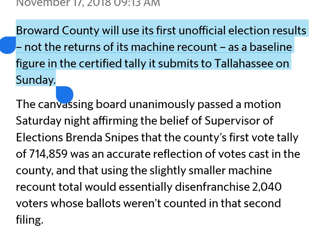 NYT was wrong. Broward will NOT use its recount total but rather its initial count. Scotts +779 net votes go poof. Same cant use recount with lower total excuse as Hillsborough. amp.miamiherald.com/news/politics-…