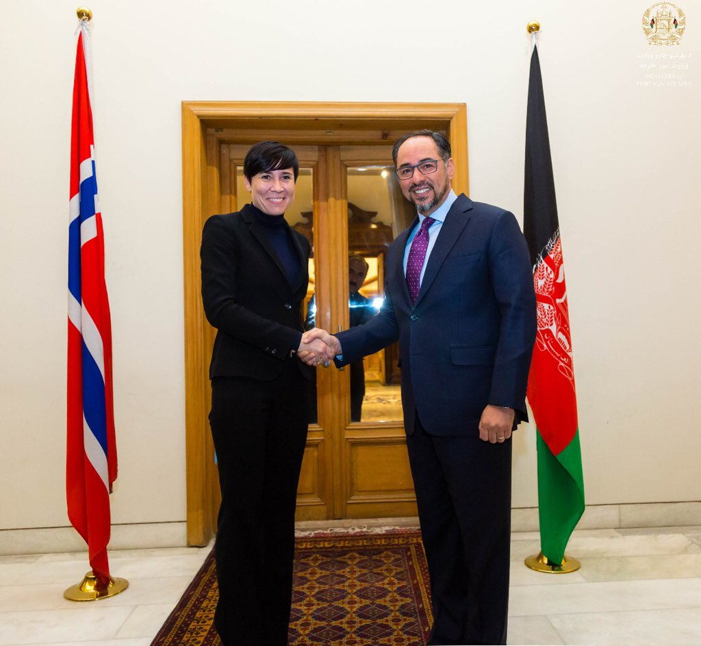 Held a productive meeting with my Norwegian counterpart FM #EriksenSøreide today @mfa_afghanistan. We are grateful for Norways support to Afghanistan in different areas including security, development assistance, peace efforts and women's empowerment. @NorwayinAfgh @NorwayMFA