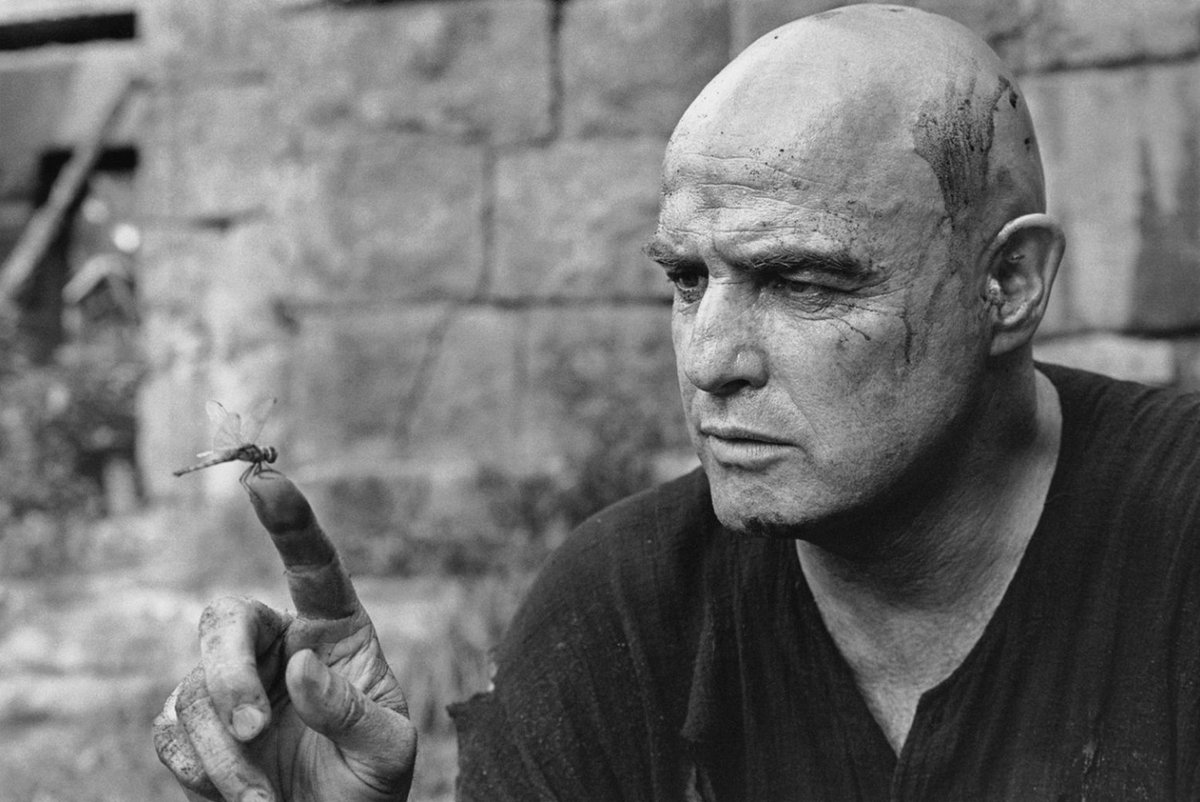 """Brando in """"Apocalypse Now""""   Probably my favorite performance of his. He's so damn good as Kurtz.   Even when it's just his voice on the tape recorder, describing his dream about the snail on a razor. Amazing."""