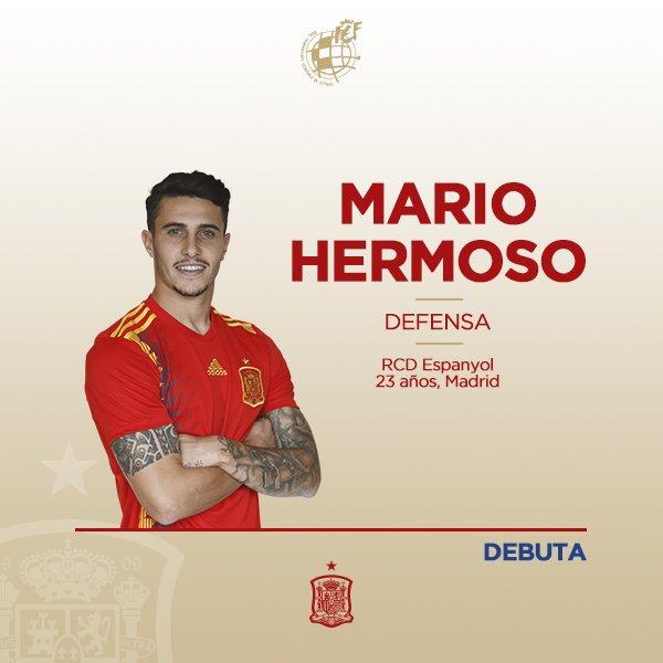 ¡Enhorabuena, @mariohermoso5, por tu primera internacionalidad con la @SeFutbol!💪🏻   ¡Feliz debut!  🇪🇸🆚🇧🇦 | 0-0 | 8' |  #VamosEspaña