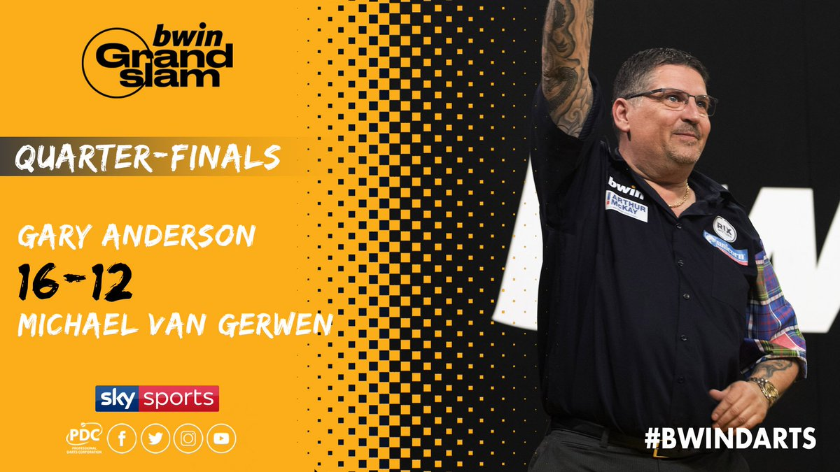 WINNER! Gary Anderson knocks out the reigning @bwin Grand Slam of Darts Champion! We will have a new name on the trophy as Anderson takes on Gerwyn Price this evening. #bwinDarts