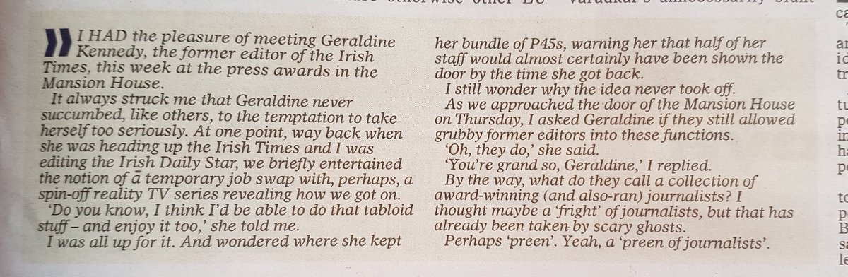 Ger Colleran in @irishdailymail talking about a supposedly planned Editor swap between @IsFearrAnStar &  yea@IrishTimesrs ago. 🤔  Think I dodged a bullet!