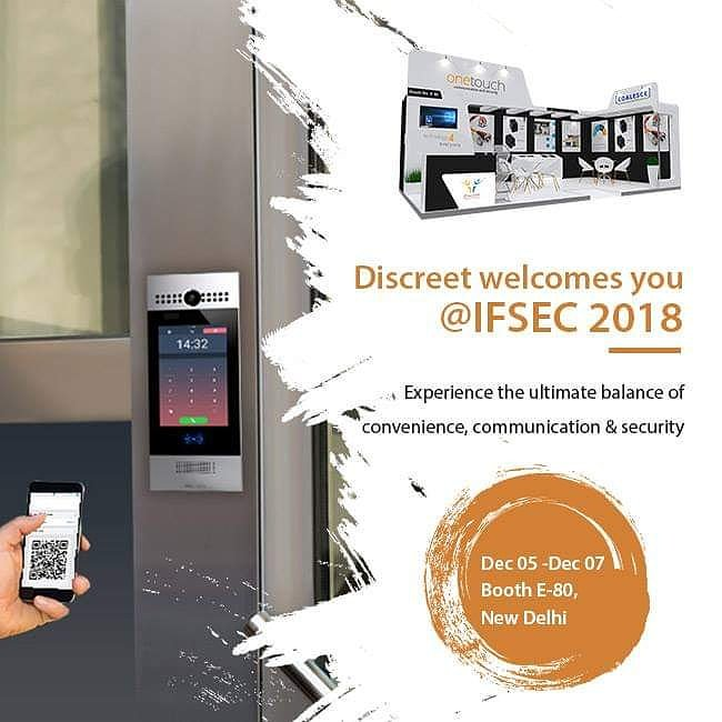 Discreet Solutions welcomes you at IFSEC 2018 at New Delhi between 5th-7th December 2018. Its all about Digital security solutions for your family, township, multi-apartments #Intercom #FTTH #AlarmSensors #ConnectedHome #SmartHome #LightAutomation #Exhibition #IFSEC #IFSEC2018