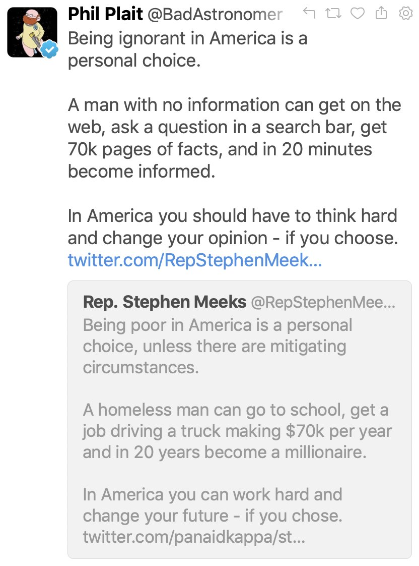 Here's a screenshot (with my reply) so it will live in infamy. He also made  his account private. A *public official* made his account private.