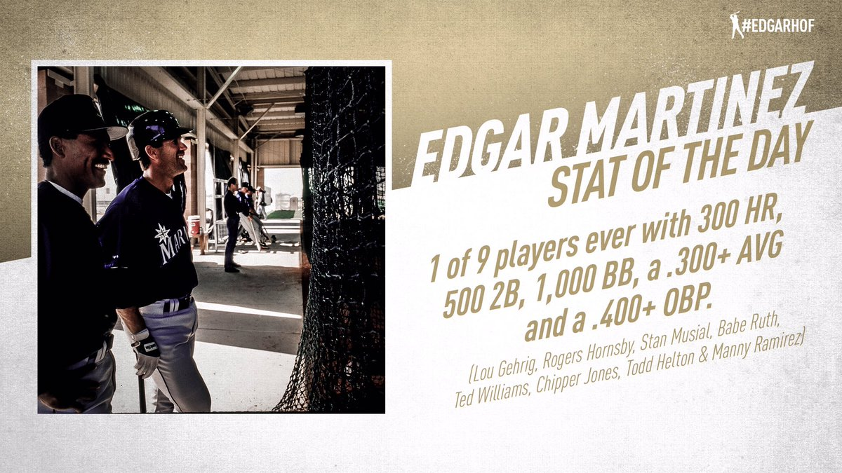 Nine players in baseball history have recorded 300 HR, 500 2B, 1,000 BB, a .300 career AVG and a .400 career OBP: Edgar, Gehrig, Hornsby, Musial, Ruth, Williams, Jones, Helton and Ramirez. #EdgarHOF More: atmlb.com/2RSjDJO