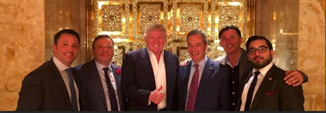 Happy Brexit day everyone! Just realised..its November 18! And 3rd anniversary of when @arron_banks - to @realDonaldTrumps right - did 2 v special things: 1) Launched official campaign for @nigel_farages LeaveEU AND 2) Visited Russian embassy to discuss gold & diamond deals