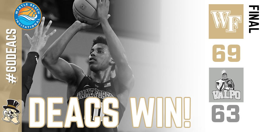 DEACS WIN! Jaylen Hoard has a double-double (16 pts, 10 rebs) as Wake downs Valpo 69-63 at @MyrtleInvite