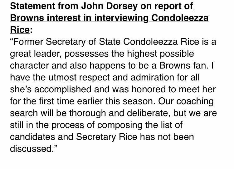 #Browns John Dorsey statement on Condoleezza Rice
