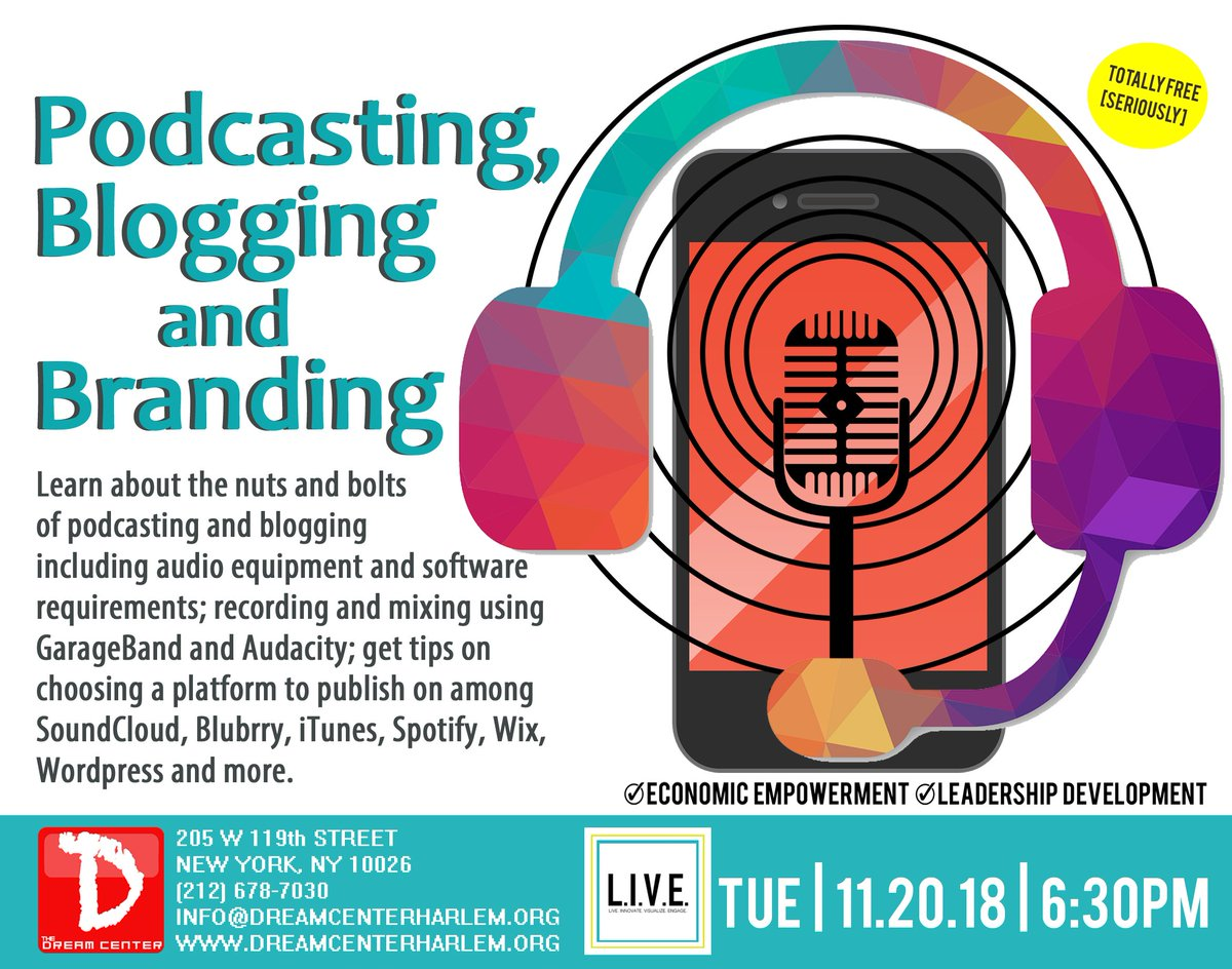 Learn the nuts and bolts of #podcasting & #blogging, and get tips on choosing a #platform to publish on among SoundCloud, Wordpress and more. #TDCHarlem #alwaysrelevant #alwaysfree #podcast #blog #entrepreneurs #storytelling #branding #brand #radio #writing #yougonlearntoday