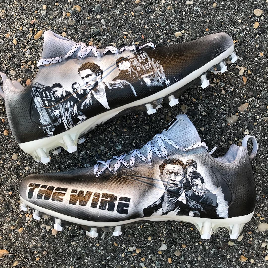"""It's all in the game."" @DreKirkSWAG's The Wire-inspired Nike Vapor Untouchable Pro cleats by @kreativecustom1 for today's game in Baltimore."