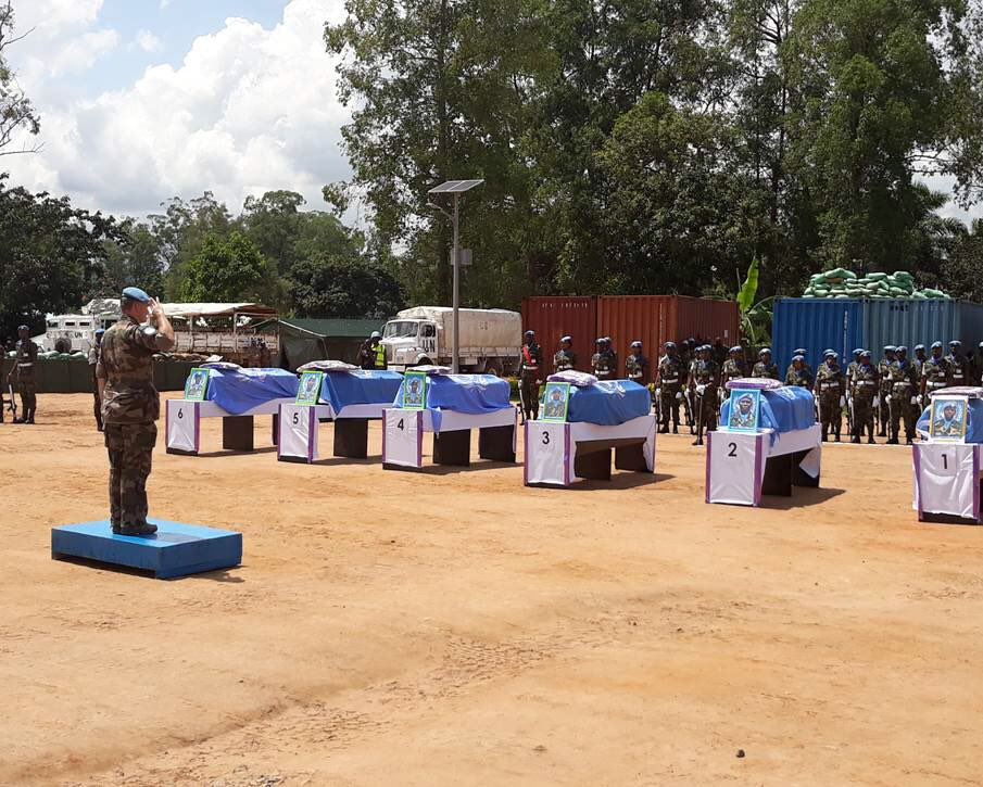 A memorial service was held by @MONUSCO in Beni, North Kivu #DRCongo, to honour 6 @UN peacekeepers from #Malawi & 1 from  who#Tanzania were recently killed during operations against the ADF in the . We#DRC honour their service & sacrifice.  #ServingForPeacehttps://t.co/znVzIefdsB