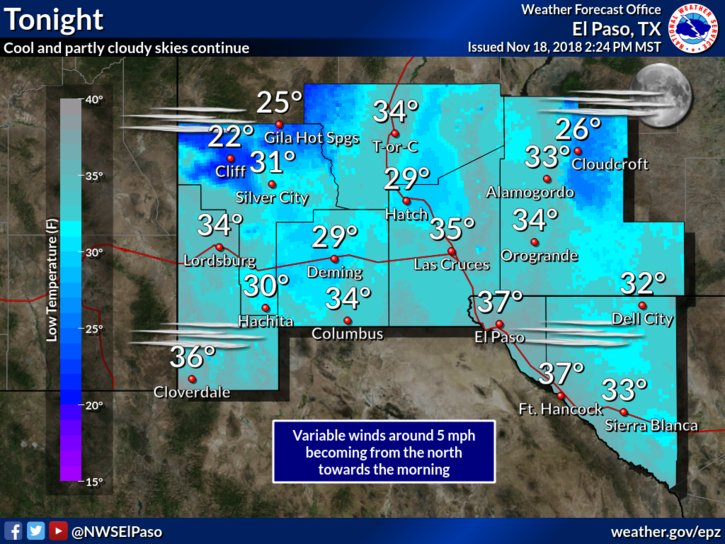Cool temperatures continue over the Borderland. #txwx #nmwx