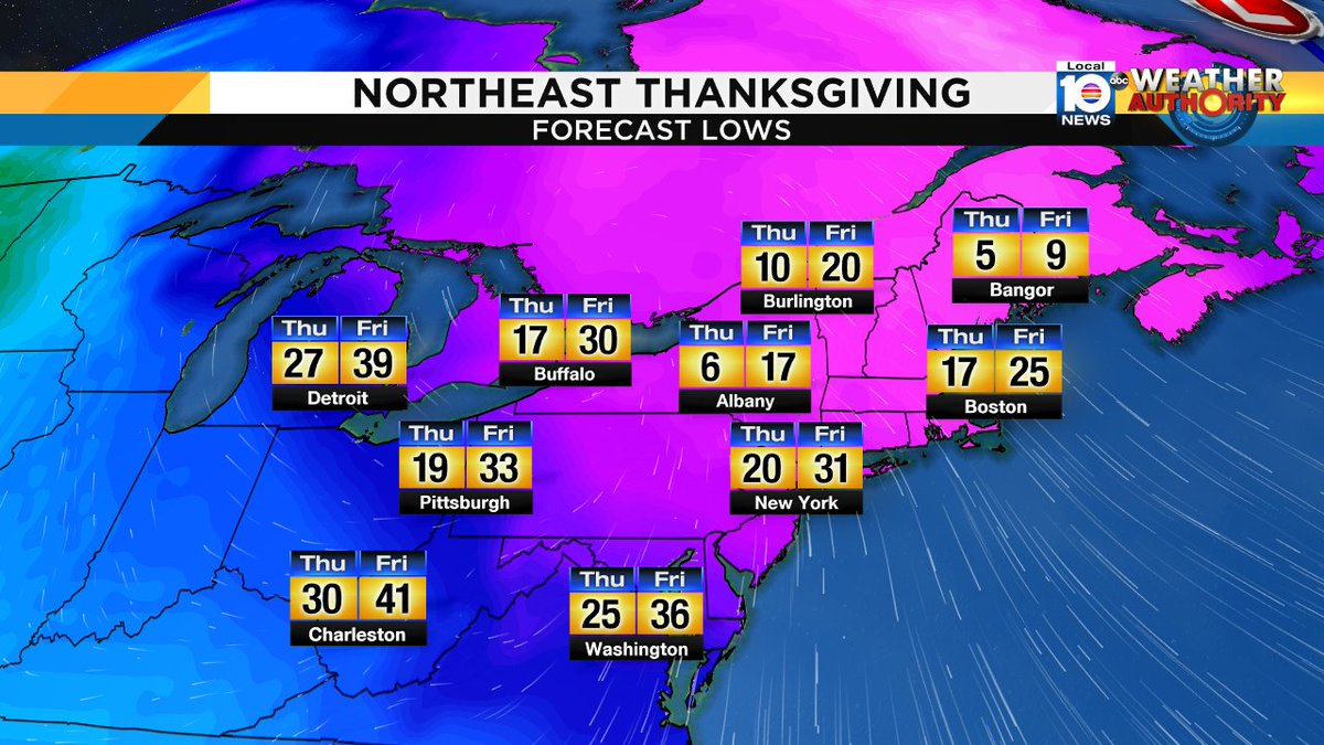GOING NORTH FOR THANKSGIVING? Might want to pack an extra sweater... or seven. Bitterly cold for the late part of the week in the northeast! Presented by Simply Healthcare
