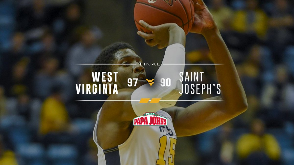 WVU improves to 2-2 with a 97-90 win over Saint Josephs.