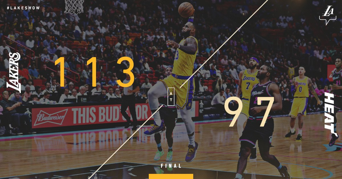 �� Fifty-piece for the King ��  51 points and 6 triples in LeBron's return to South Beach. #LakersWin https://t.co/E5XuJNXJ1v