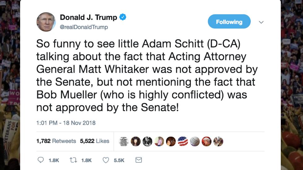 Trump calls Schiff 'little Adam Schitt' in tweet https://t.co/FXdbYij8BX