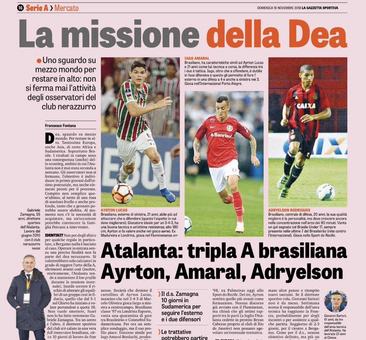 Outra da Gazzetta, de página inteira, envolvendo três brasileiros que interessam à Atalanta: Ayrton Lucas (Flu), Iago (Inter) e Adryelson (Sport). Dirigente do clube visitou o Brasil em outubro e interessou-se pelos jogadores.