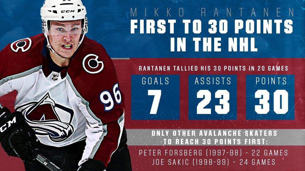 With an assist tonight...  Make that 30 points for Mikko Rantanen!  #GoAvsGo