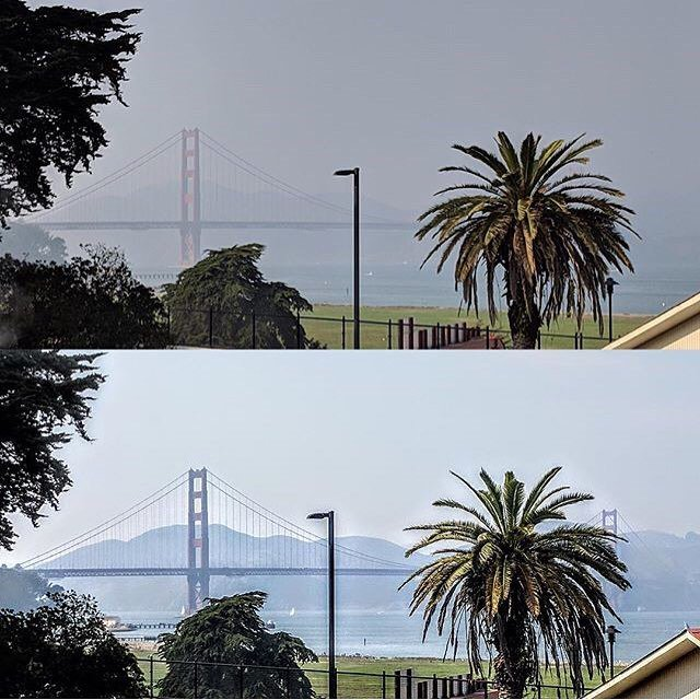 From Instagram: @virgoblue1 shows us the Golden Gate on a clear day versus current conditions. When will the skies clear up? Click link on @SFGate profile for story. #hazy #campfire #smoky #smokyskiess#cafiresk#wildfiresi#goldengatee#goldengatebridges#sf  https://t.co/PSLrHpfATi  bridge …