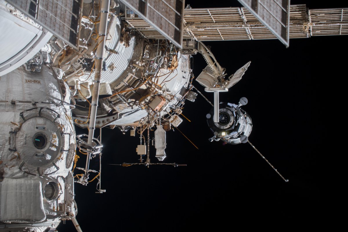 Just welcomed a new Russian #Progress cargo vehicle on board, supplying the @Space_Station with fresh food, water, air and experiments. Sergey and I were monitoring its flawless automatic approach to #ISS, ready to step in if needed. Photo by @AstroSerena.