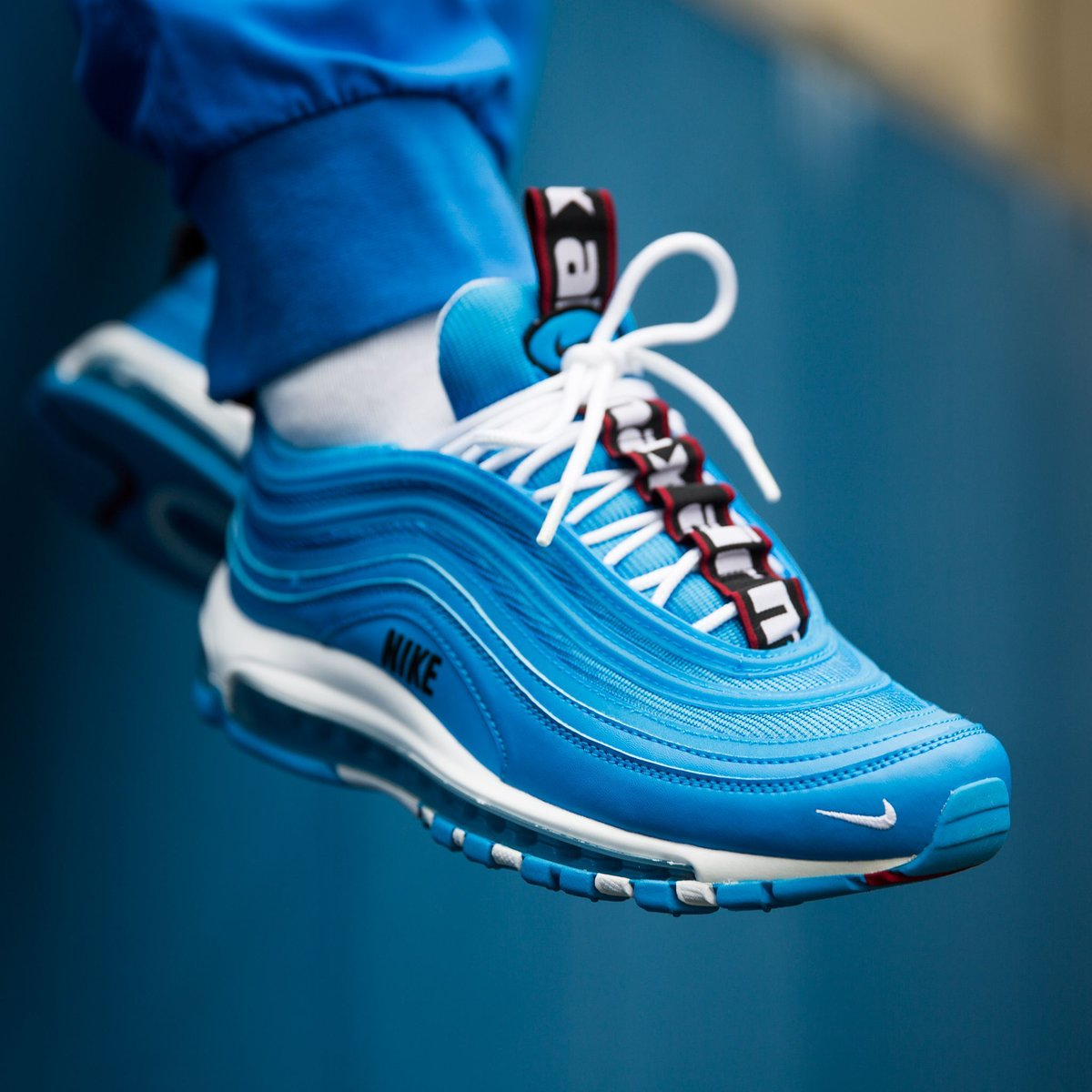 nike AIR MAX 97 PREMIUM BLUE HEROWHITE BLACK VARSITY RED