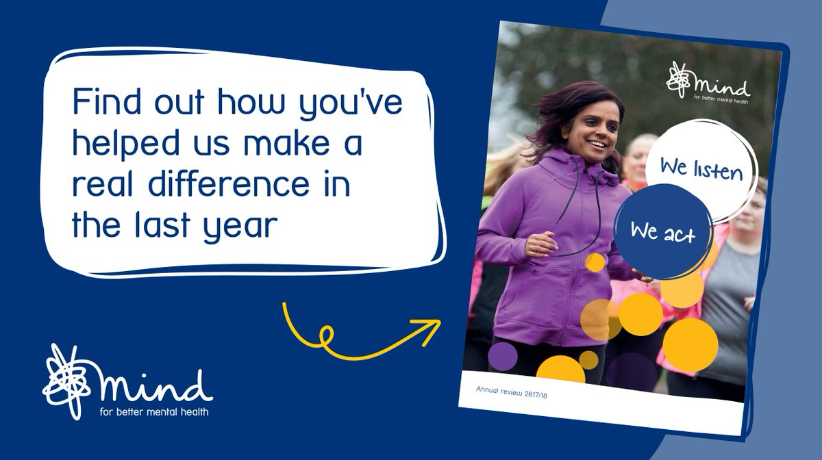 Thank you to everyone who helped us shine a light on mental health in 2017/18. Read about the difference you've helped us to make in our new annual review > bit.ly/2qIFl5h #YouMadeItHappen