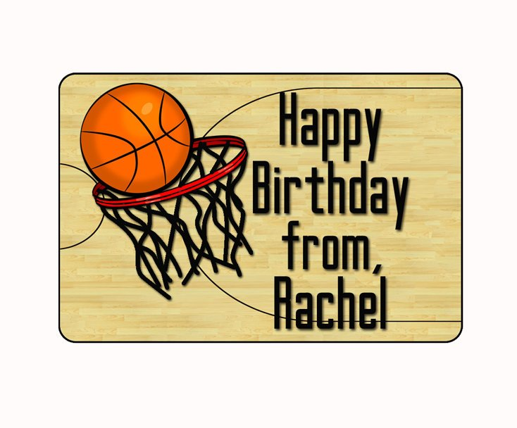 Birthday Gift Stickers Basketball Labels Tags Personalized