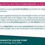 Image for the Tweet beginning: Kein Populismus bei Abschiebedebatte zu