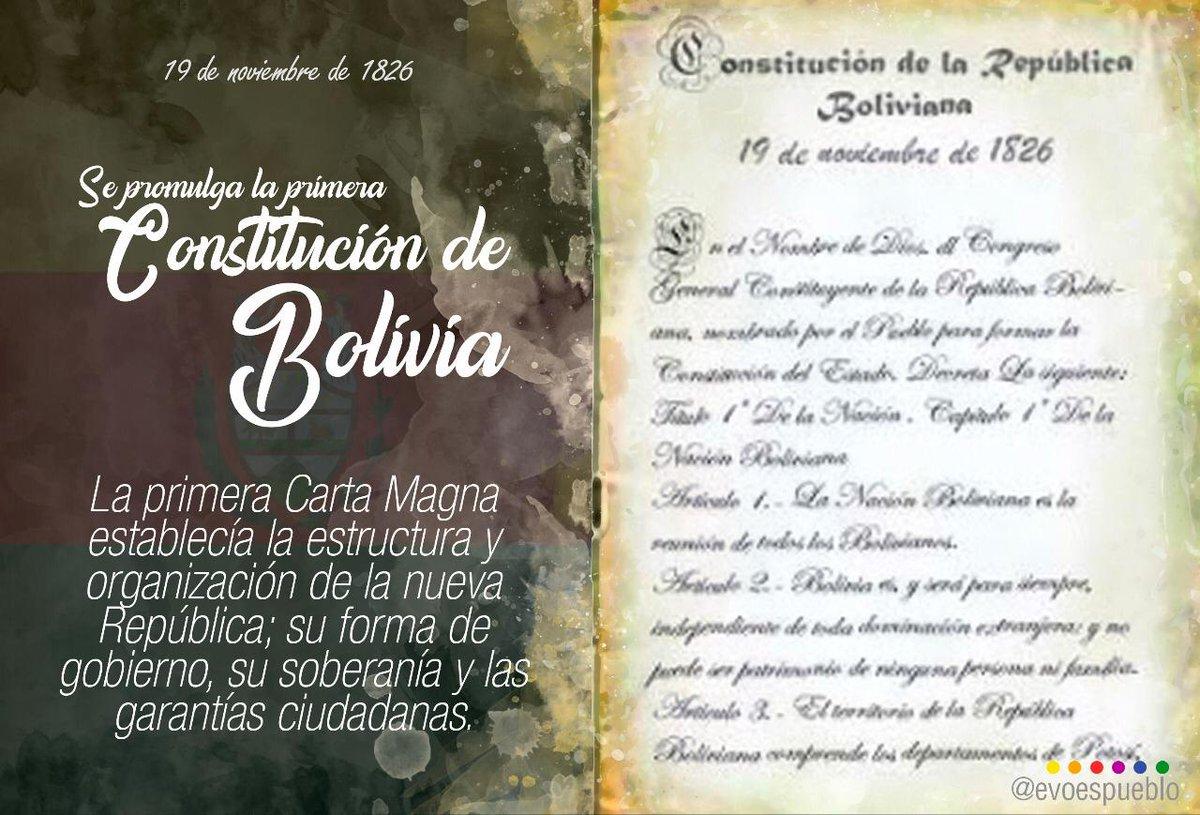 Como hoy, 1826, Antonio José de Sucre promulgó la primera Constitución de #Bolivia, inspirada en las ideas de Simón Bolívar. Nuestros libertadores sentaron las bases de la nueva República independiente, y a inicios de este siglo, el pueblo la refundó en un Estado digno y soberano